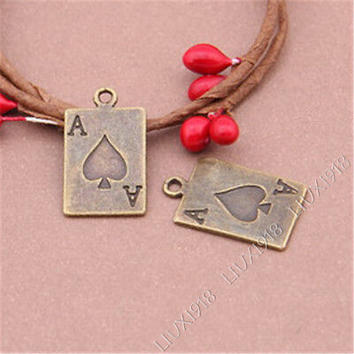 20pc Antiqued Poker Spades Pendant Charms Dangle Accessories Bead Findings S254B
