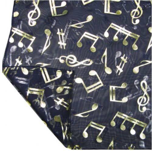 Gold Foil Musical Note Treble Clef Fashion Neck Scarf Tie Head Wrap Accessories
