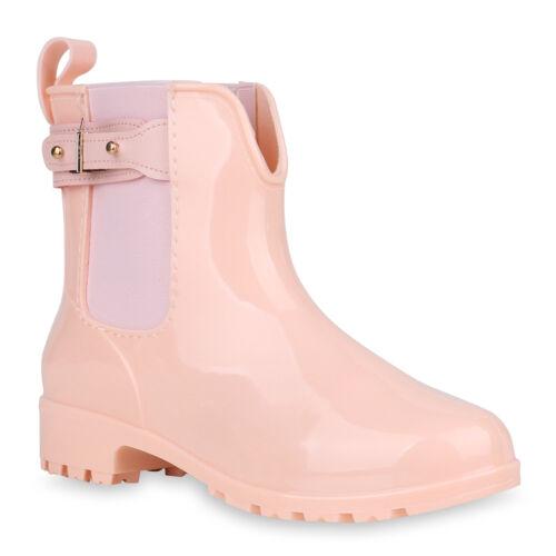 Damen Stiefeletten Gummistiefel Schnallen Profilsohle 818968 Schuhe