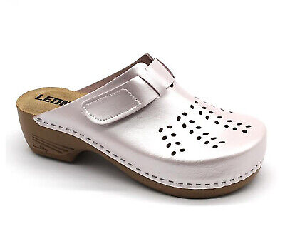 White New LEON PU156 Ladies Women Leather Slip On Mules Clogs Slippers Sandals