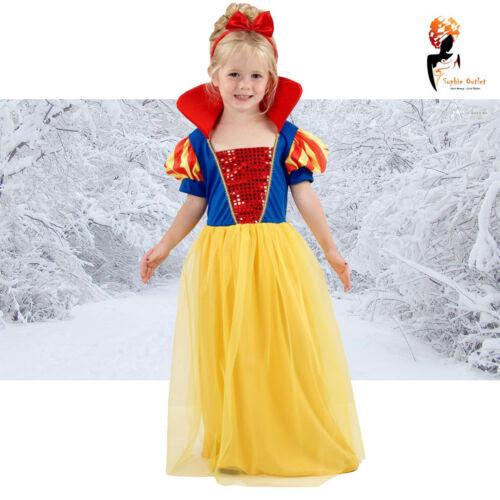Filles Neige Princess Costume Déguisement Conte De Fée Jaune Costume Monde Semaine Du Livre
