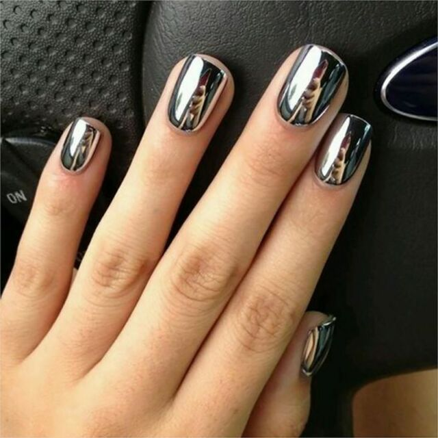 6ML Metallic Mirror Effect Nail Polish Silver Nail Art Varnish Polis + Base Coat