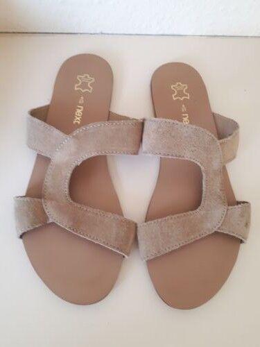 Next beige suede slip on slider sandals size 4