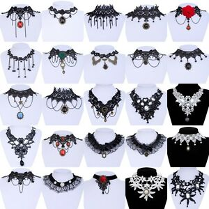 Black Lace Choker Victorian Gothic Collar Necklace Pendant Jewelry