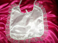 ADULT BABY SISSY  WHITE  SATIN  BIB LACE TRIMMED WHITE  SATIN  TIES