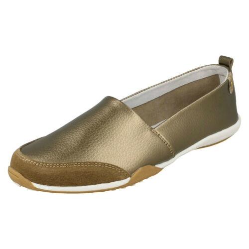 LADIES DOWN TO EARTH FLAT LEATHER SMART SHOES CASUAL SLIP ON COMFY PUMP F8R0409