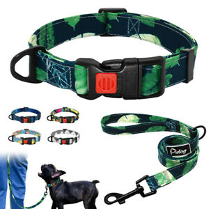 New-Arrival-Soft-Cotton-Small-Large-Dog-Collar-and-Leash-Set-Various-Colors