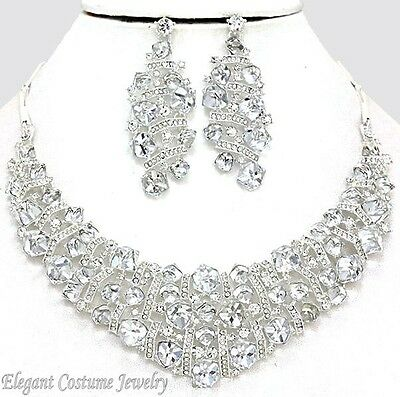 CLEARANCE SALE    Crystal Formal Necklace Set Elegant Wedding Bridal Jewelry