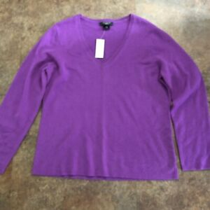 Ann-Taylor-Cashmere-Sweater-XL-Purple-V-Neck-Long-Sleeve-Pullover