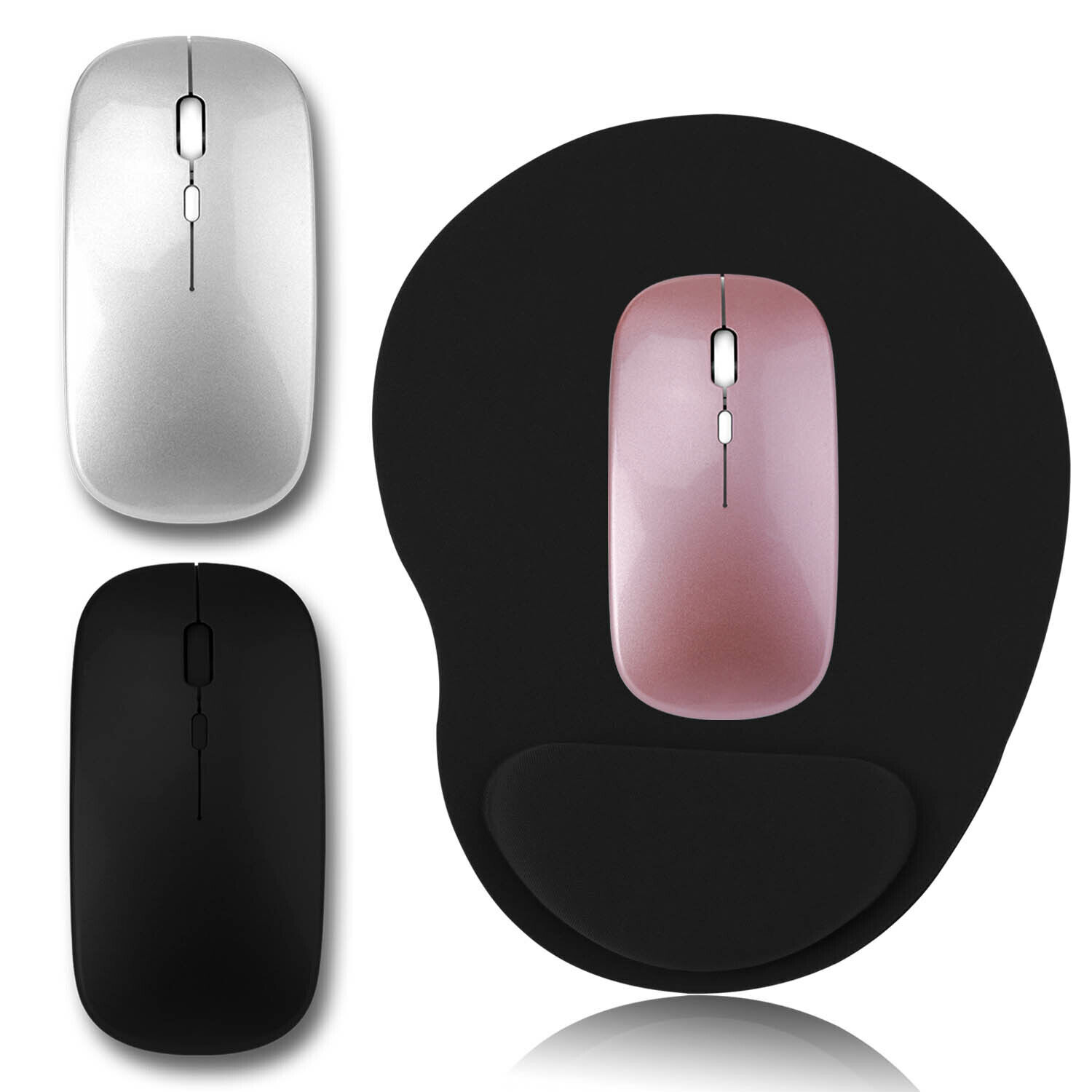 Pink Receiver for Laptop PC Mac Optical Wireless Mouse 2.4GHz Ultra-Thin Wireless Mouse USB Slim Optical Wireless Mouse