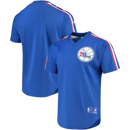 Mitchell /& Ness Philadelphia 76ers Royal équipe gagnante Maille Col V Jersey
