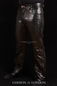 Trooper-Para-Hombres-Pantalones-De-Cuero-Negro-Cuero-Moto-Pantalones-Vaqueros-Pantalones-4669