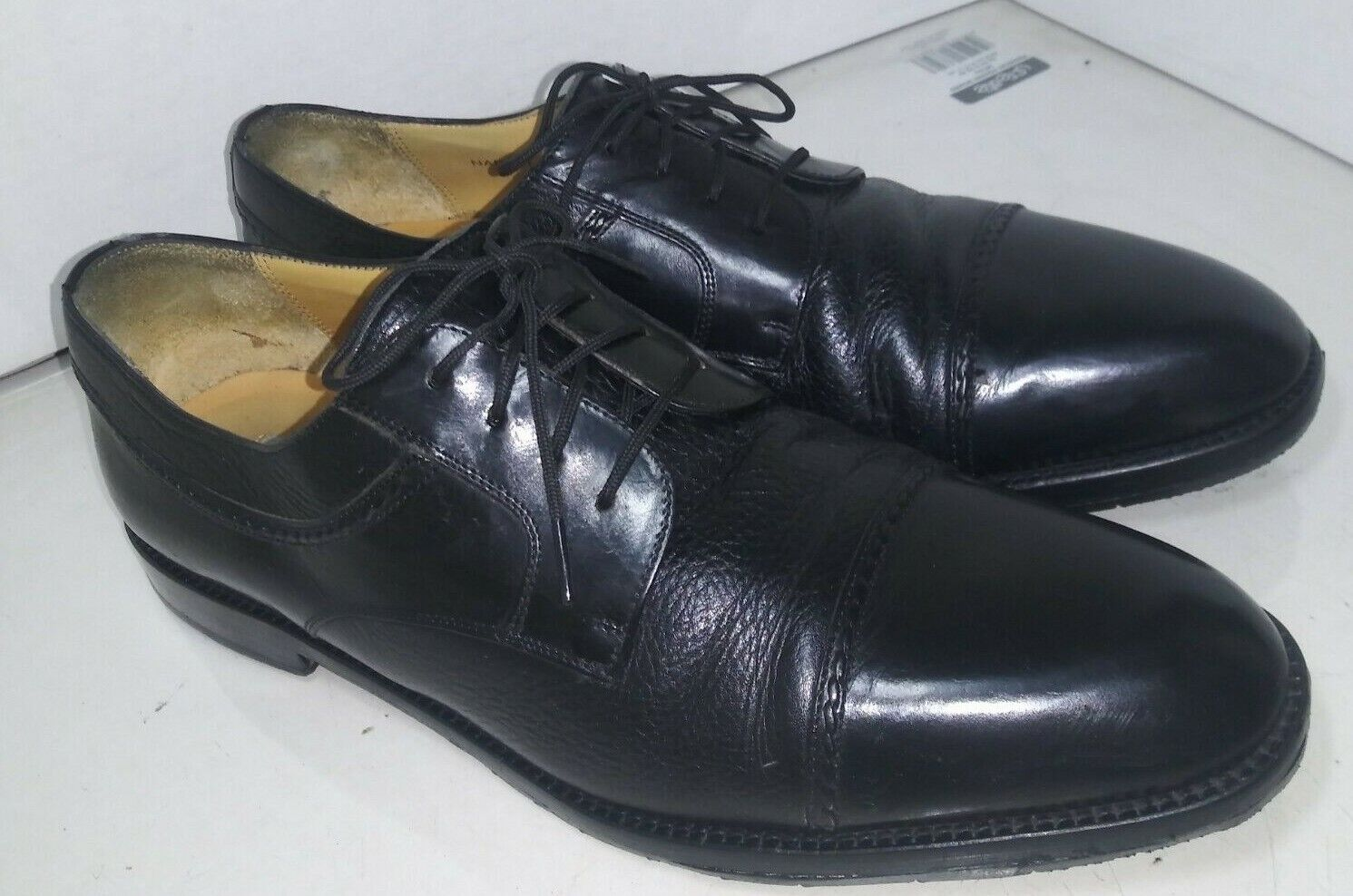 Mezlan Napoli Black Leather Dress Oxford shoes Cap Toe Men Size 11.5 M
