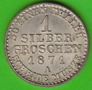 Prussia 1 Silver Pennies 1871 A Better Than XF Very Nice nswleipzig