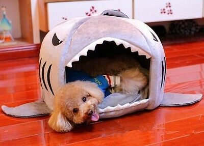 Pet Bed For Dog/Cat Puppy Cute Shark Cave Nesting Rest Cotton Gray Cozy Beds