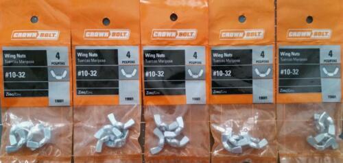 20 Pcs #10-32 Wing Nuts Zinc