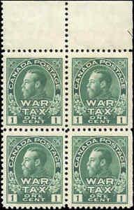 1915-Mint-NH-Canada-GUIDE-ARROW-Block-of-4-F-VF-Scott-MR1-1c-War-Tax-Stamps