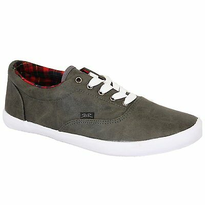 Rock & Religion Melvin Plimsolls Shoes Lace Up Charcoal Grey Casual Trainers