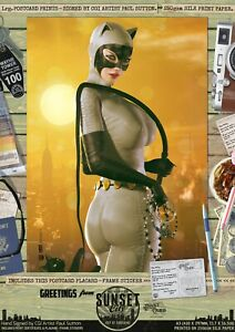 Catwoman-DC-Animated-Universe-Sexy-039-Sunset-City-039-Comic-Hand-Signed-A3-Print