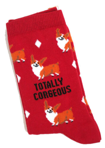 LADIES TOTALLY CORGEOUS RED CORGI DOG SOCKS UK SIZE 4-8 EUR 37-42 US 6-10