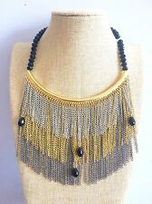 Gold Silver long tassel Bohemian African Statement Necklace Zara style