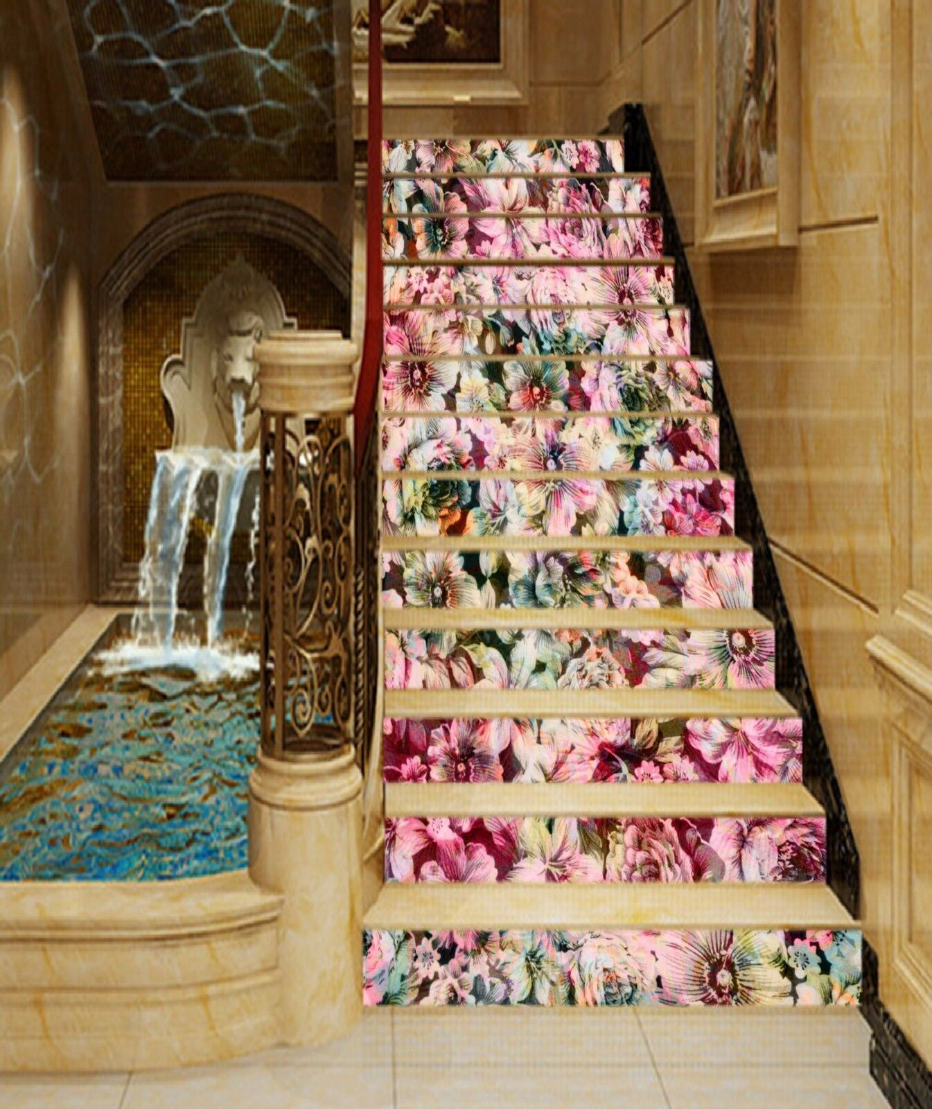 3D color Flower 26 Stairs Risers Decoration Photo Mural Vinyl Decal Wallpaper US