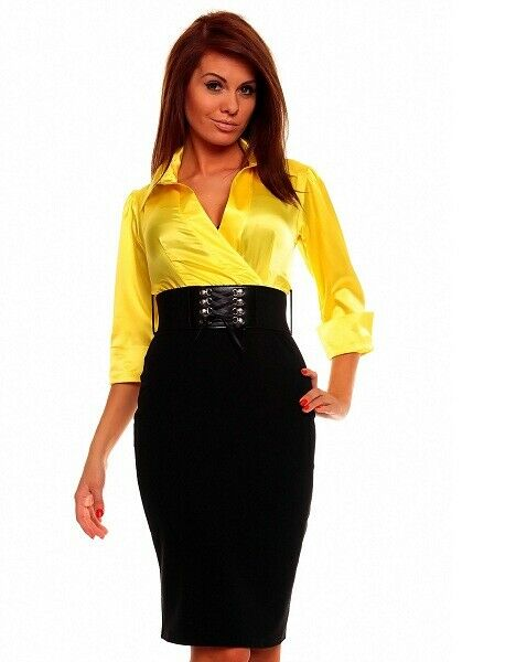 GORGEOUS KNEE LENGTH CONTRAST LIGHT DRESS WITH BELT YELLOW 567