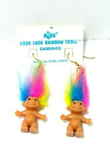 GOOD-LUCK-RAINBOW-HAIRED-EARRINGS-2-034-Russ-Troll-Dolls-NEW-IN-PACKAGE