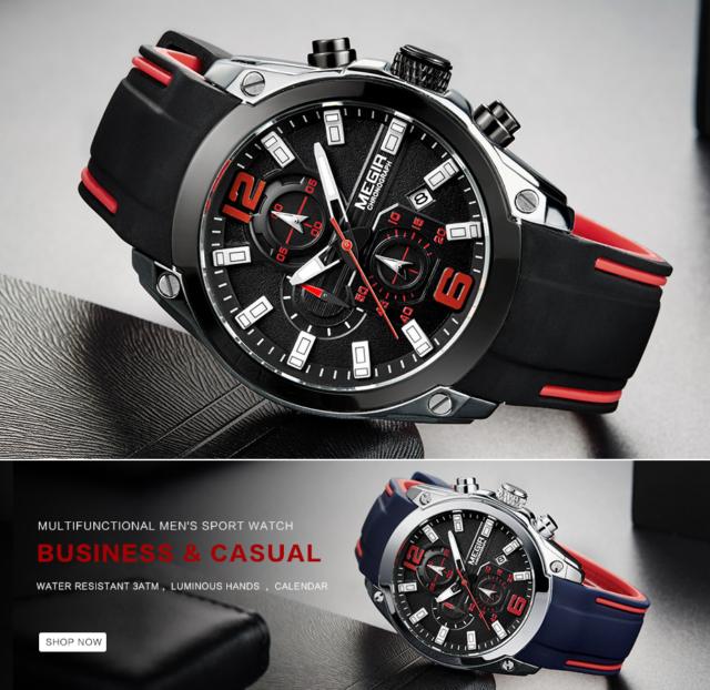 Men's Luxury Chronograph Aviator Quartz Silicone Wrist Watch Military Sport