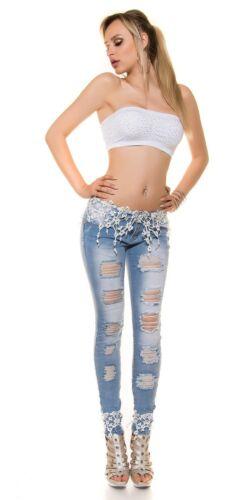 KOUCLA Skinny Jeans Donna Pantaloni Jeans Con Ricamo Pizzo