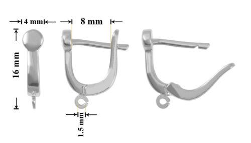 Argent Sterling 925 Leverback Boucles d/'oreilles crochets 16x4mm différentes plaques