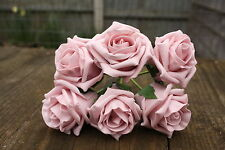 6 X Vintage Dusky Pink Colourfast Foam Roses 6cm Wedding Flowers