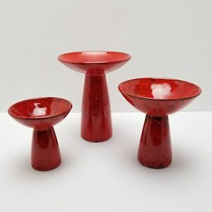 Mid-Century-Italian-Candlestick-Candle-Holder-Set-Italy-Orange-Red-Pottery-AS-IS
