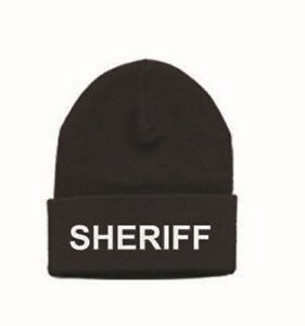 Acrylic-Beanie-with-034-SHERIFF-034-Or-POLICE-Stitched-on-brim-Black-white-gold