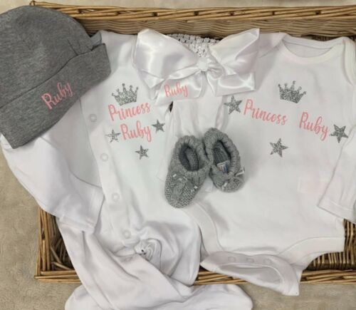 Sleep suit babygrow bodysuit hat booties headband personalised custom-made set