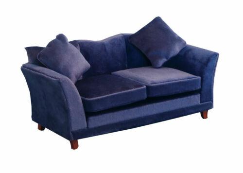 Escala 1//12 casa de muñecas Emporium Azul sofá de terciopelo moderno 9315