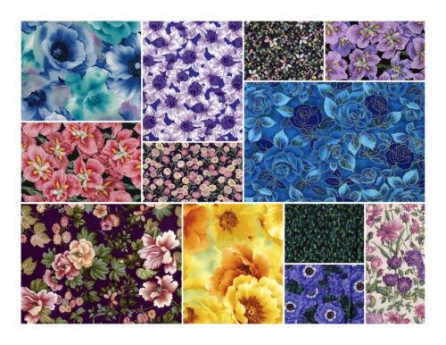 FREE SHIP! FQ/'s 50//$39.99- Floral TOP Quality Fabric quilting FQ/'s sew