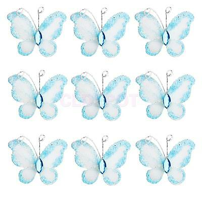 50pcs Wedding Card Wired Mesh Stocking Glitter Butterfly Craft Sewing DIY Blue
