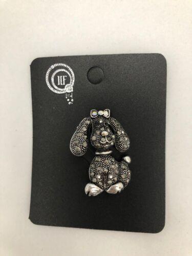 Nuevo * Perro Negro Diamante Cristal Broche Mate Plata Metal Regalo Cachorro Lindo