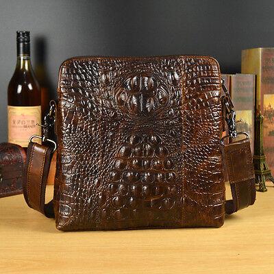 New Men Genuine Leather Crocodile Grain Cross Body Shoulder Messenger Casual Bag