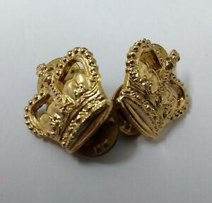 "Genuine British Army Issue ⅝"" Small Gold Coloured Crowns 1 Pair Snap Pin JK04X"