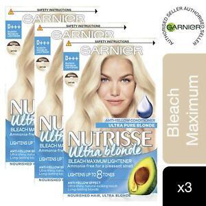 3 Pack Garnier Nutrisse Hair Dye Ultra Blonde D+++ Bleach Maximum Lightener