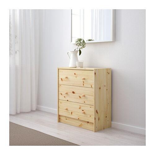IKEA RAST Kommode mit 3 Schubladen Schrank Kleiderschrank MASSIVHOLZ UNBEHANDELT
