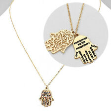 Hamsa Hand Necklace Filigree MATTE GOLD Evil Eye Protection Inspire Jewelry