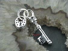 Ketten Anhänger Schlüssel mit Schloss Gothic Celtic Silber 925 Keuschheitsgürtel