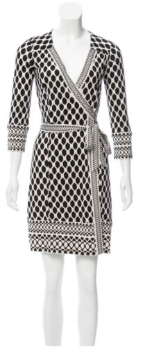 DVF Black and White printed wrap dress XS