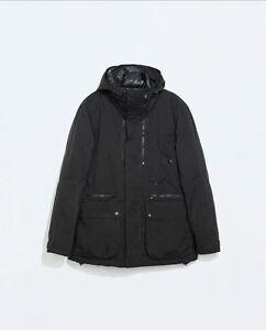 ZARA Man Men's Parka Detachable Down Coat Jacket 2 in 1 (Black ...
