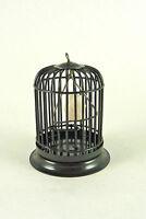 Dollhouse Miniature Metal Bird Cage, Black W/ White Bird, S8034