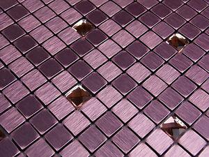 Effektmosaik Klar Glas Mosaik Fliesen Rosa Pink Aluminium Metall