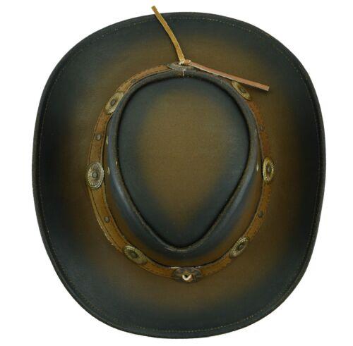 Australian western style cowboy leather bush hat Free postage UK Stock